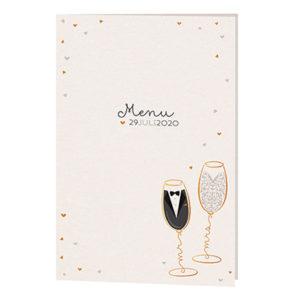 Menukaart Mr & Mrs in een champagneglas