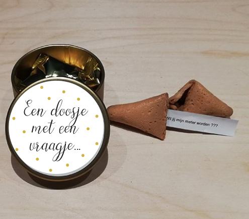 Blikken doosje met fortune cookie