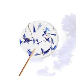 Lolly met bloemen - blauwe korenbloem