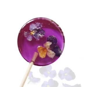 Lolly met bloemen - gekonfijte viooltjes