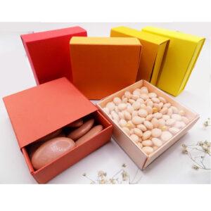 Vierkant schuifdoosje - rood/oranjetint