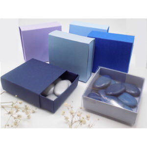 Vierkant schuifdoosje - blauwtint